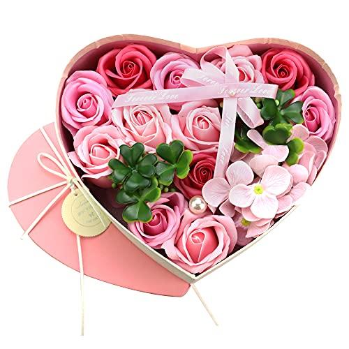 NELAHSHA Seifenblumen Geschenkbox Rot Seife Rose Blume Herz Rosenbox mit Grußkarte Rosen Duftseifen für Muttertag Valentinstag Jubiläum Geburtstag Geschenke (21x 18x 8,5cm)