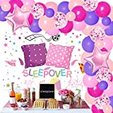 Sleepover Party Decorations for Girls Women Teens Adults Hot Pink Balloon Garland Kit Spa Party Supplies Sleepover Backdrop Star Foil Balloons for Pajama Slumber Ladies Night Party Supplies