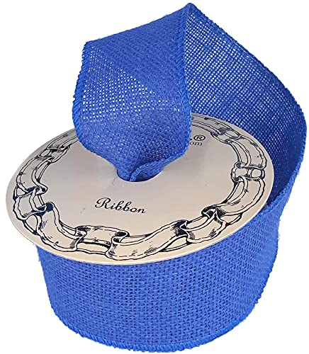 Royal Blue Fabric Burlap Ribbon - 2 1/2' x 10 Yards, Wired Edge, 4th of July, Spring Decor, Christmas Tree Ribbon, Hanukkah, Rustic Jute, Birthday, Wreath, Garland, Easter