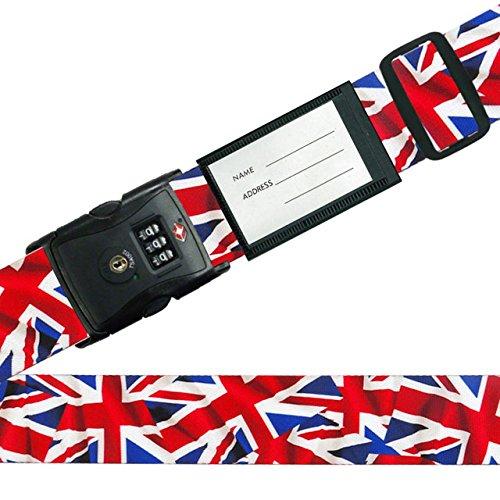TSA ロック付き スーツケース ベルト (ネーム タグ 付き) ワールドフラッグ イギリス