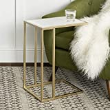 WE Furniture Modern Side End Accent C Table Living Room, 20 Inch, White Marble, Gold