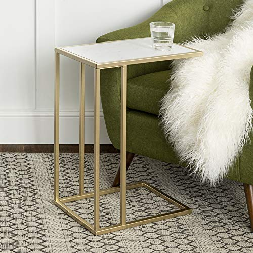 Eden Bridge Designs Modern Industrial Square End Table/ Sofa Table/ Side Table, Laminate Top Surface and Asymmetrical Metal Frame - White Faux Marble/ Gold