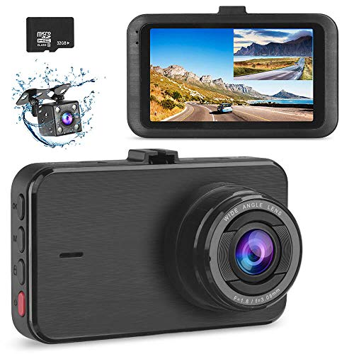 Dash Camera for Cars Front and Rear SSONTONG Dash Cam Dual Camera with SD Card FHD 1080P Driving Recorder 3 Inch IPS Screen 170°Wide Angle, HDR, Night Vision, Parking Mode, Motion Detection