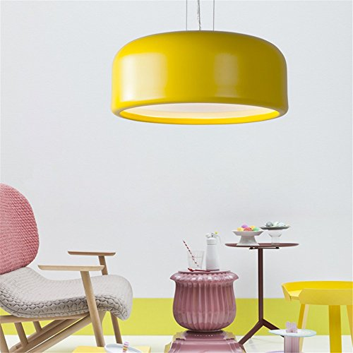 5151BuyWorld Lamp Simple Macarons Foyer Moderne Forme Ronde Suspension Pendentif Lampe Lampe Coloré Macaron Doux Enfants Chambre Étude Luminaire Qualité Supérieure {Diamètre 48 CM & Jaune}