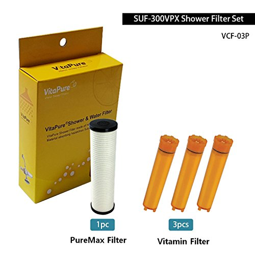 [VCF-03P] A Refill Filter cattridge for SONAKI SUF-300VPX Universal Dual Inline Shower Filter - 3pcs of Vitamin C Filters + 1pc of PureMax Filter