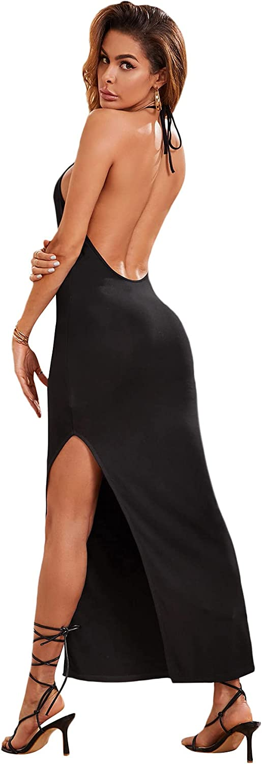 Popular shop is the lowest price challenge SheIn Fresno Mall Women's Sleeveless Strappy Tie Party Backless Halter Split