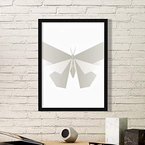 DIYthinker Resumen de la Mariposa Blanca de Origami del Arte del Modelo Pintura Foto de la Imagen del rectángulo de Madera del hogar del Marco Regalo decoración de la Pared Pequeña Negro
