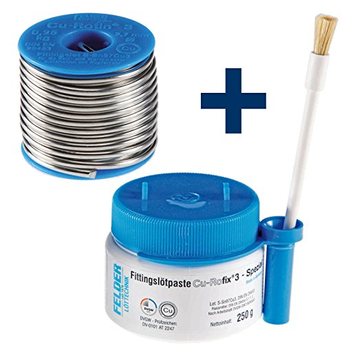 FELDER Fittingslot Cu-Rotin 3 + Fittingslötpaste Cu-Rofix 3-Spezial SET...