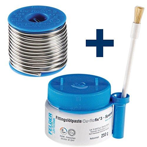 FELDER Fittingslot Cu-Rotin 3 + Fittingslötpaste Cu-Rofix 3-Spezial SET Weichlot und Flussmittel zum Weichlöten von Kupferrohren, Größe:2.0 mm