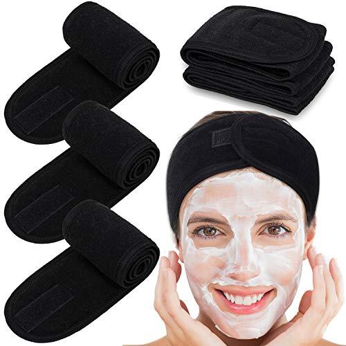 Whaline Haarband für Make Up, 4PCS Kosmetik Stirnband Frottee, verstellbare Haarschutzband mit Klettverschluss für Sport, Yoga, Washen, Schwarz