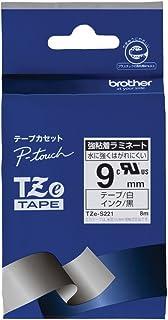 ブラザー工業 TZeテープ 強粘着ラミネートテープ(白地/黒字) 9mm TZe-S221