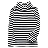 JWWN Little Boys Turtleneck Thermal Tops Long Sleeve Striped Tee Winter Baselayer Warm Undershirt,(Black,7Years)
