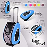 ibiyaya Multifunction Pet Carrier + Backpack + CarSeat + Pet Carrier Stroller + Carriers with Wheels for Dogs and Cats All in ONE (Blue) 9