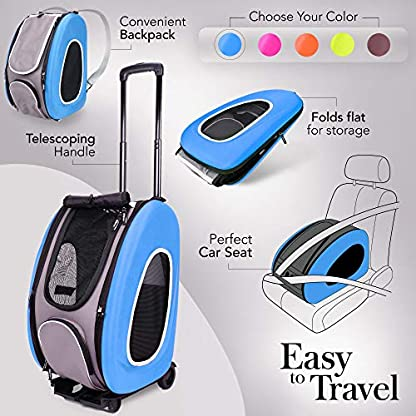 ibiyaya Multifunction Pet Carrier + Backpack + CarSeat + Pet Carrier Stroller + Carriers with Wheels for Dogs and Cats All in ONE (Blue) 2