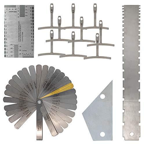 Surmounty 13-teiliges Gitarrenbauwerkzeug-Set inkl. Gitarren-Radiusmesser, Saitenlineal, Stahlfühlerlehre, Gitarren-Radiuslehre für Gitarren und Bass