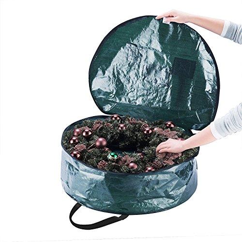 Borsa in Tesutto Corona Di Natale - 61x10cm Ghirlanda Storage Bag Protettiva e Resistente Lungo – Custodia Zip Up Sack Box per Decorazioni di Sacchetto Corone Natalizie e Maniglie Di Trasporto