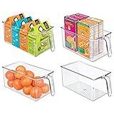 mDesign Juego de 4 cajas de almacenamiento de plástico – Ideal para los armarios de cocina o como organizador de frigorífico – Caja organizadora abierta con asa incorporada – transparente
