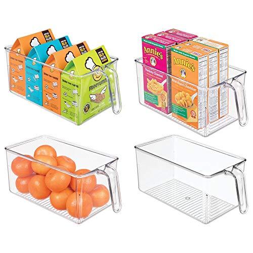 mDesign 4er-Set Aufbewahrungsbox aus Kunststoff – ideal zur Küchen Ablage, im Küchenschrank oder als Kühlschrankbox – offenes Design mit integriertem Griff – durchsichtig