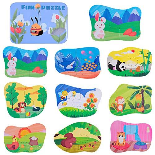 rolimate Puzzle in Legno, Giochi di Animali da Cartone Animato Giochi educativi Montessori con Scatola di Ferro Regalo di Compleanno per 3 4 5 6 Anni Ragazzi Ragazze Giocattoli da Viaggio(20 Pezzi)