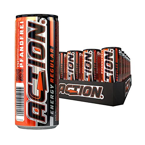 ACTION Energy Drink Regular PFANDFREI, 24 x 250 ml, Innovative Rezeptur, 24 Dosen, Klassischer Energy Drink mit 31,5mg Koffein, erhöhter Koffeingehalt