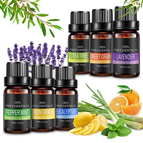 pequeño y compacto Aceites esenciales, 6 x 10 ml de aceites esenciales de aromaterapia para cremas hidratantes, 100% naturales…