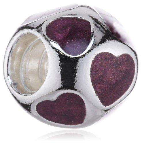 Pandora Damen-Bead Element Herzen 925 Sterling Silber violett emailliert 790543EN21