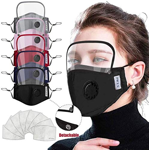 Gokeop 5Pcs Face and Eyes Protection with Breathing Valve Covering Face and Mouth Suitable for Women and Men, with 10Pcs Filter Pads, PM2,5 Face Covering (Blue,Black,Red,Gray,Pink)