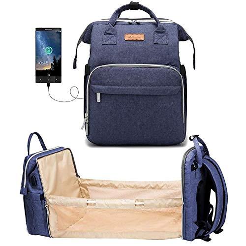 HOMEDAI 4 in 1 Multifunktions-Windel-Beutel-Rucksack-Reisebett Kinderwagen Organizer, Cabrio Leichte Baby-Windel-Beutel-Bett-Spielraum-Speicher-Beutel, Baby-Wickeltaschen, Großer Capacit,Blau