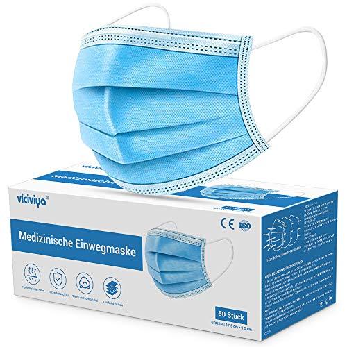 Medizinische Gesichtsmaske, VICIVIYA Mund-Nasen-Masken 50 Stück, 3-lagig, Einweg-Masken, Einweg-Ohrschlaufen, Mundschutz, Blau