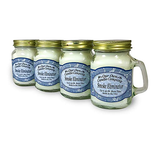 Our Own Candle Company Smoke Eliminator Scented Mini Mason Jar Candle, 3.5 Ounce (4 Pack)