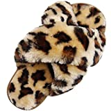 Fuzzy Cross Band House Slippers Women's Open Toe Indoor Home Shoes Brown 5.-5.5 Women