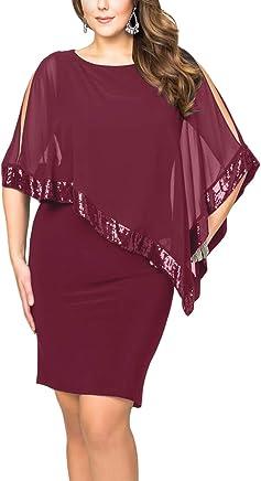 f67e84e0a68 innerger Women's Plus Size Chiffon Cape Overlay Bodycon Evening Party Mini  Dress