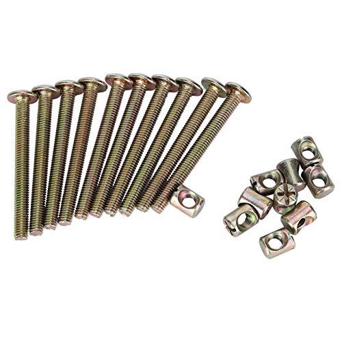 Perno para muebles -10 piezas M6 Pernos para muebles de acero al carbono con tuercas de barril Sujetador de conector de tuerca(40mm)