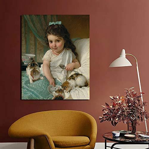 Berühmte Malerin Mädchen füttert Katze Leinwand Malerei Wanddekoration Moderne Heimdekoration,Rahmenlose Malerei,40x50cm