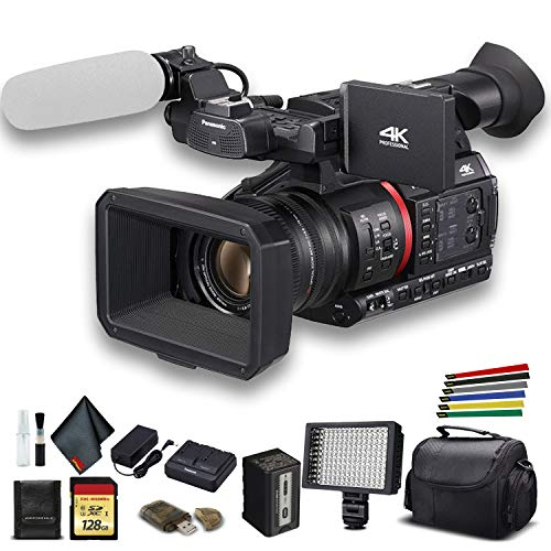Panasonic AG-CX350 4K Camcorder (AG-CX350) W/Padded Case, 128 GB Memory Card, Wire Straps, LED Light, and More