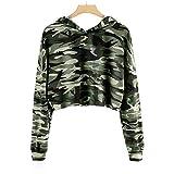 Imily Bela Kids Crop Tops Girls Hoodies Cute Plaid Long Sleeve Fashion Sweatshirts (10-12 Years/Height:55in, Z1-Camo)