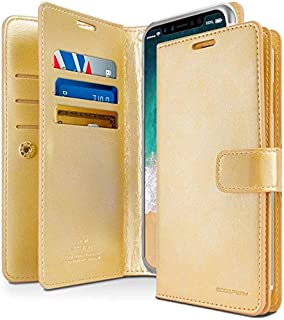 iPhone XR Leather Cover Protection Wallet with Multi Pockets Case, Gold