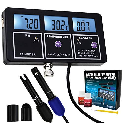 5-in-1 PH EC CF TDS Temperatur Wasserqualität Wiederaufladbare Multi-Parameter-Wandhalterung Test Meter mit Kontinuierlichen Monitor Tester für Aquarien Hydrokultur Pool Trinkwasser Labor