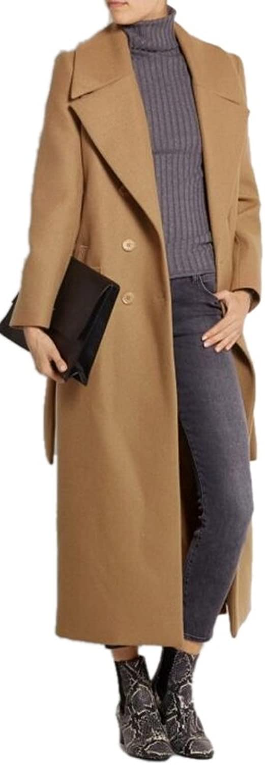 AZIZY Women's Camel Lapel Double Breasted FullLength Slim Trench Wool Coat with Belt