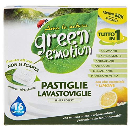 Green Emotion Pastiglie Lavastoviglie al Limone, 16 Lavaggi