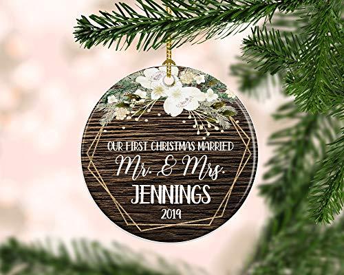 Adorno rústico de Boda para la Primera Navidad, Adorno de Boda recién Casado, recién Casado, Adorno de recién Casado, Regalo de Matrimonio 2019, Boda para Pareja
