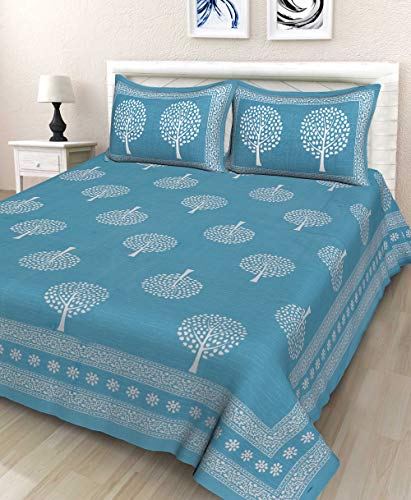 BedZone Rajasthani Jaipuri Traditional Sanganeri Print Cotton Double Size Bedsheet with 2 Pillow Covers
