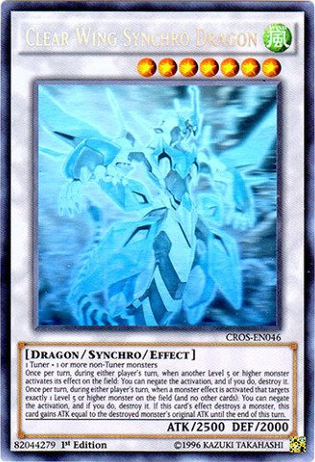 YuGiOh   Clear Wing Synchro Dragon (CpinkN046)  Crossed Souls  1st Edition  Ghost Rare by YuGiOh