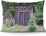 Keyboard cover Funda de cojín de Farm Life House con puerta de madera, sombrero de Cottage en Woodland Leaves, impresión artística, funda de cojín impresa, 16 x 24 pulgadas
