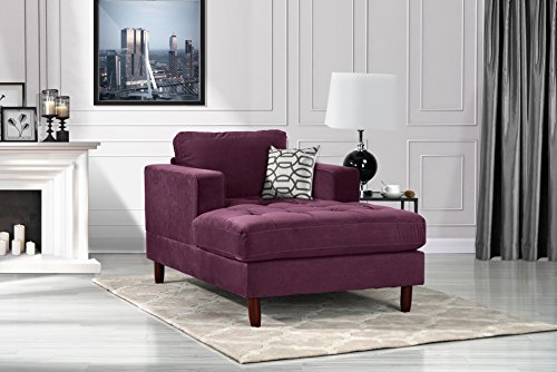 Divano Roma Furniture Middle Century Modern Velvet Fabric Living Room Chaise Lounge (Purple)