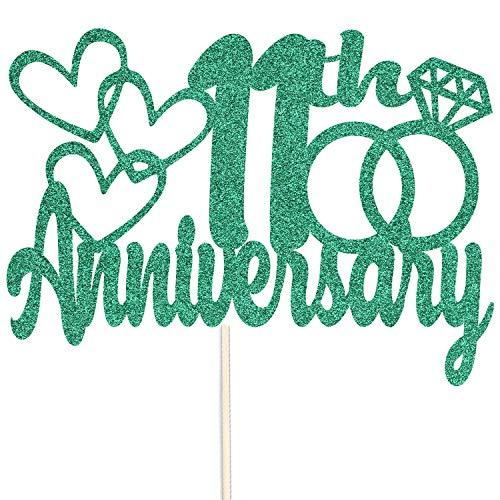 Szczęśliwej 11-tej rocznicy brokatowy czubek na tort – na zamówienie rekwizyty do dekoracji przyjęć – dostępne w wielu kolorach