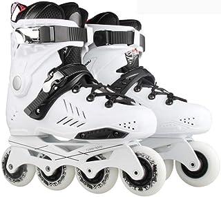 成人用屋外ローラースケート、初心者向け洗えるインラインスケートフラッシュホイールスケート黒、白 (Color : White, Size : 37 EU/5 US/4 UK/23.5cm JP)