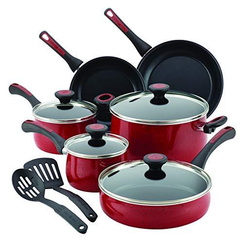 Paula Deen 16991 Riverbend Nonstick Cookware Pots and Pans Set, 12 Piece, Red Speckle