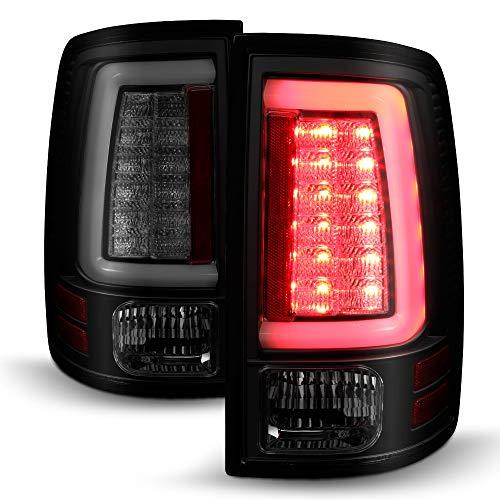 ACANII - For [Factory LED Tail Light Model] 2013-2018 Dodge Ram 1500 Black Smoked LED Tube Tail Lights Brake Lamps Pair