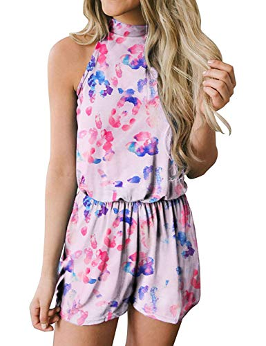 MEROKEETY Women's Summer Halter Neck Shorts Elastic Waist Solid Color Jumpsuit Rompers, DyePink, M